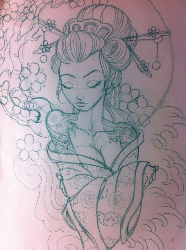 geisha sketch | Japanese geisha sketch by ~5stardesigns on deviantART