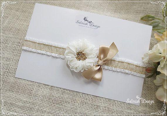 Vintage Style Gold Wedding Garter Ivory Garter by SelinishDesign