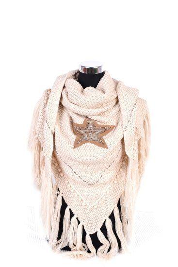 Driehoek Sjaal Ibiza Star - Beige - Sazou