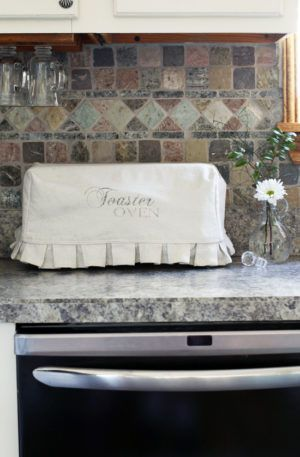 Whimsical Toaster Oven Cover made from bleached drop cloths from Confessions of a Serial Do-it-Yourselfer