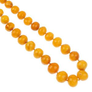A natural amber bead necklace.