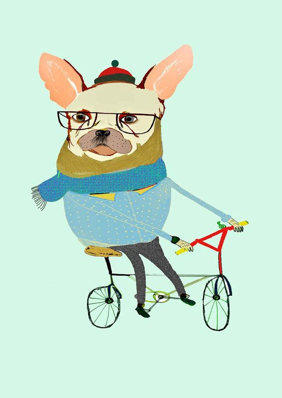 French Bulldog Biker Art Print Kids Wall Art by AshleyPercival