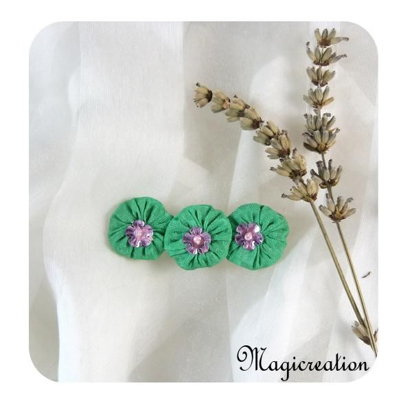 PINCE ANTI GLISSE FLEURS SOIE VERTE - Boutique www.magicreation.fr