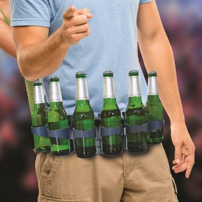 Eliminate the need for plastic carrier bags and ruck sacks full of booze with the super handy beer belt! Able to hold six beverages at once (not including the two already in your hands) you can swig and reload with lightning speed!  www.mantality.co.za