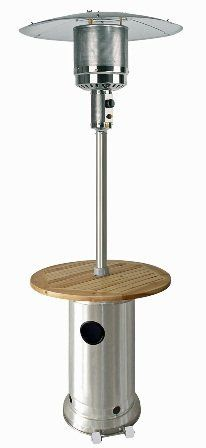"Stainless Steel 87"" Patio Heater with Wood Table by AZ PATIO HEATERS. $279.00. Anti-tilt safety to shut the motor off if it should tip over. Wheels increase mobility. Easily accessed door for quick tank changes. Uses a 20 lb. propane tank. Operates for 8-10 hrs on high. Stainless Steel 87"" Patio Heater with Wood Table. This 87"" tall Stainless Steel patio heater is great for all residential homes and commercial establishments. Its output is 41,000 BTU's and it can heat ..."