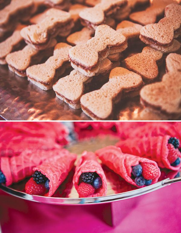 Hello kitty themed party foods ..,.. Bow shaped pb and I'm thinking pink fruit filled waffle cones(U CAN FILL W/ WHATEVER GOES WITH YOUR OTHER FINGER FOODS ..) - Alyssa would LOVE this!