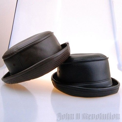 Faux Leather Pork Pie Hat Black Brown Fedora Trilby Porkpie Hats Size Adjustable