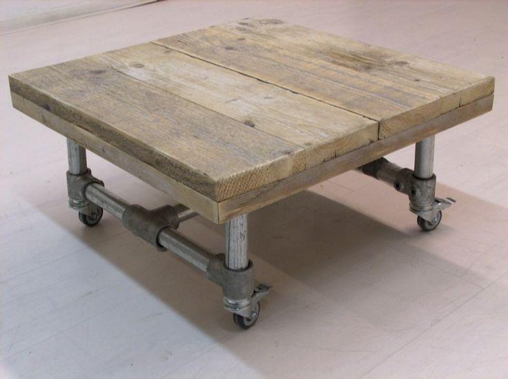 Salontafel op wielen steigerbuis en oud steigerhout voorraad (7320121859)