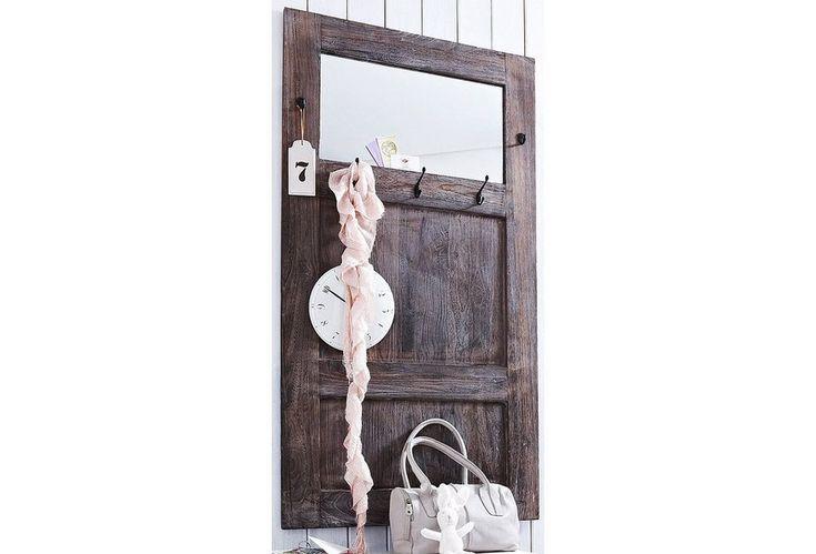 Home affaire, Garderobe »Used Look«, mit Spiegel für 119,99€. Paneel aus Massivholz, FSC®-zertifiziert, Oberfläche aufwändig gewischt, Mit Spiegel bei OTTO