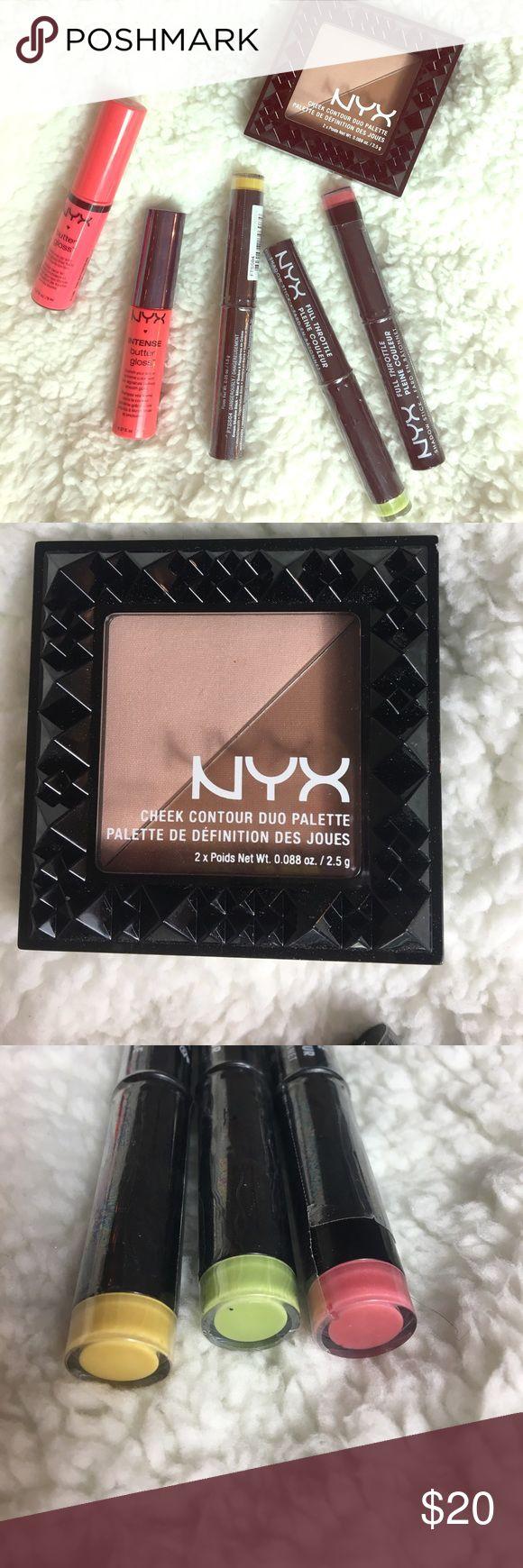 NYX lipgloss/shadow stick/ contour palette Two butter gloss lip glosses. One contour duo palette. Three full throttle shadow sticks NYX Makeup Eyeshadow