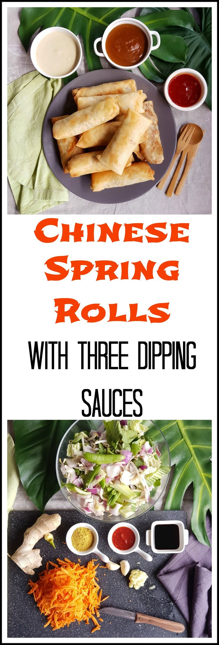 An easy recipe for home made healthy Chinese Spring Rolls with three delicious dipping sauces.  https://thecookingspoon.org
