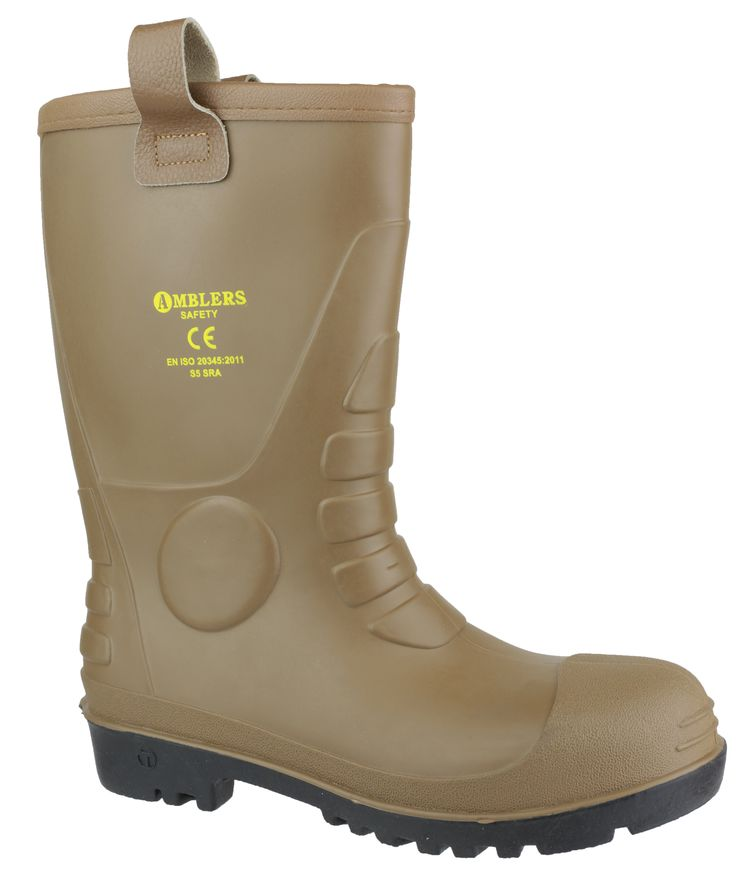 Amblers Safety FS95 brown rigger boot. Waterproof PVC upper and sole. Warm faux fur lining. Soft leather rim with leather pull-loops. Steel toe and midsole. Ribbed metatarsal and heel features. EN ISO20345 S5-SRA. UK Size: 4, 5, 6, 7, 8, 9, 10, 11, 12. For more information please visit:  http://www.amblerssafety.com/shoe/fs95/