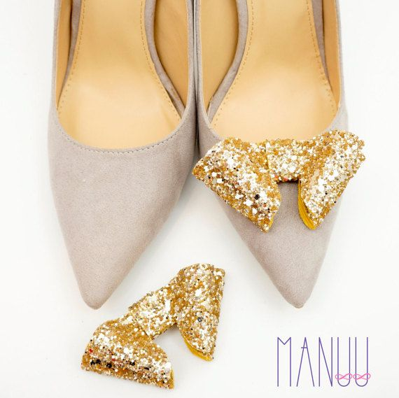 Gold glitter shoe clips - bow shoe clips Manuu, elegant shoe accessories,gold bows, glitter bows