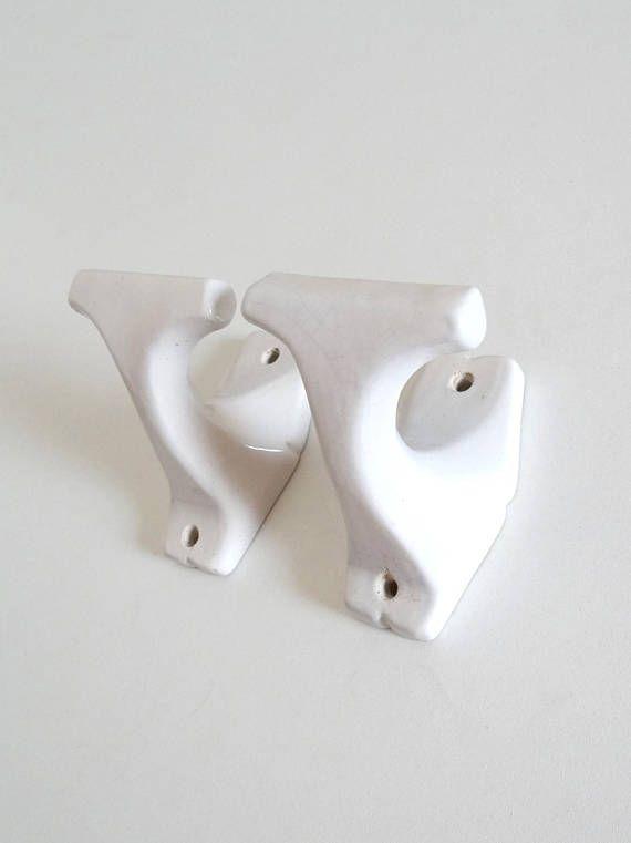 2 Vintage White Ceramic Hooks  Antique Earthenware Hangers