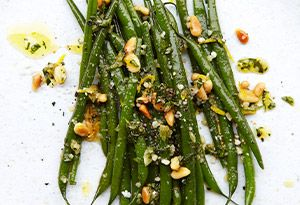 Ina Garten's Green Beans Gremolata with garlic, parsley, lemon zest, parmesan, and