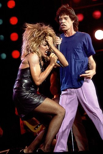 Tina Turner and Mick Jagger perform together at the Live Aid concert in Philadelphia on July 13th, 1985.