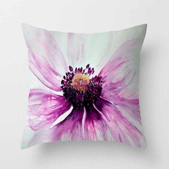 ALMOHADA de anémona púrpura acuarela blanco brillante flor