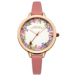 Johnny Loves Rosie Coral Strap Vintage Floral Midi Dial Watch