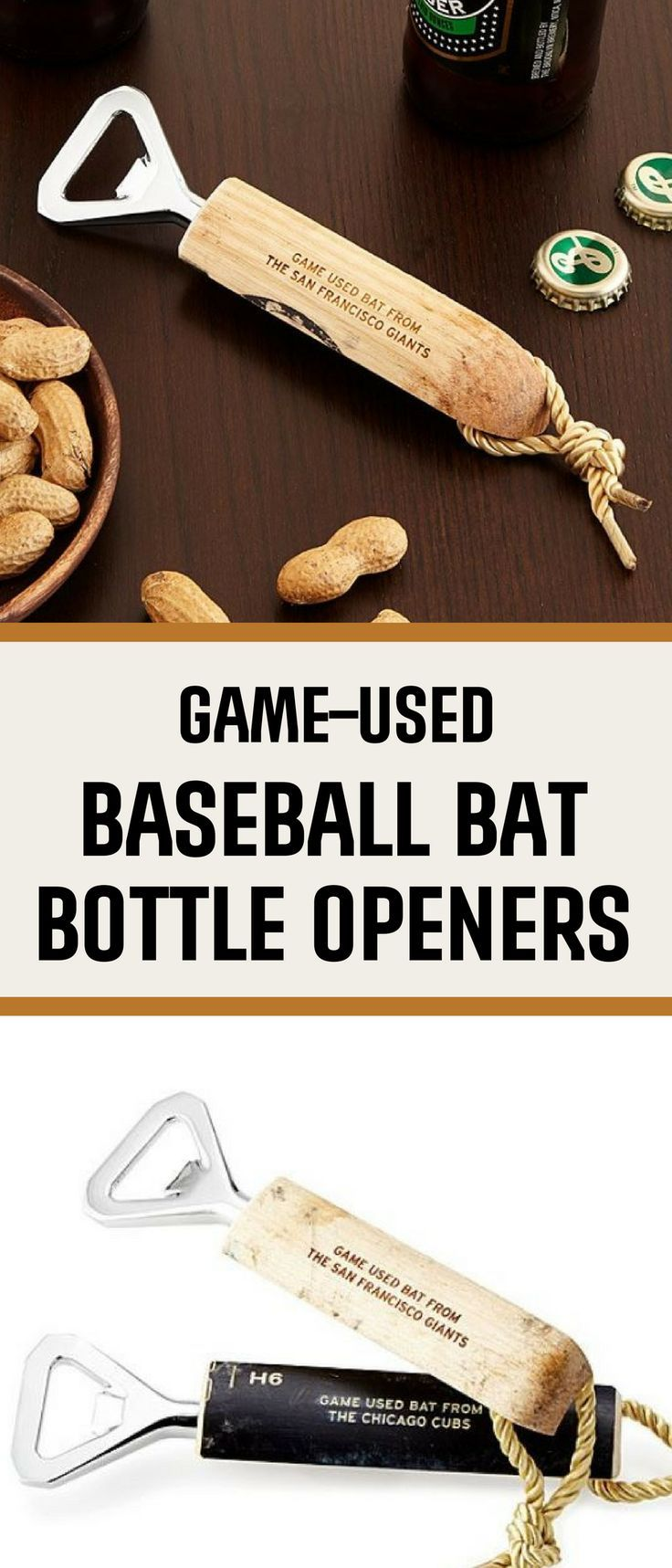 Baseball bat bottle opener | wood is from actual game-used bat | great man cave beer accessory | father's day gift idea | husband birthday gift | …