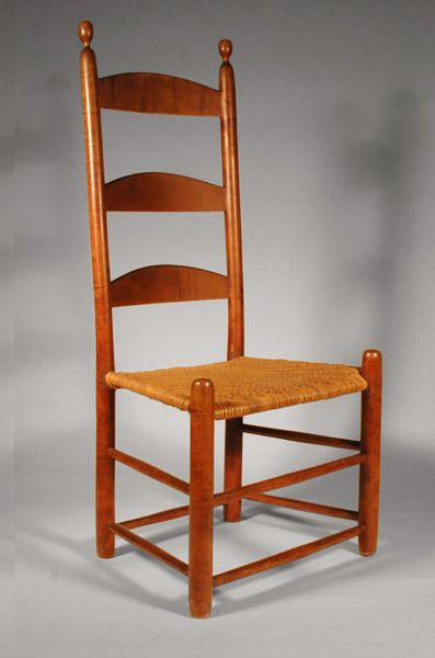 Shaker chair with woven tape seat. During the 1776-1850 religious cut more from England