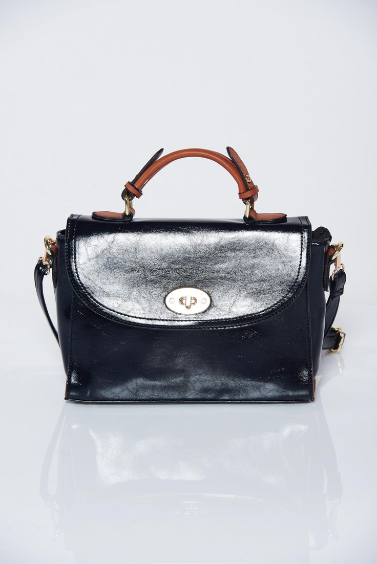 Black office bag long, adjustable handle, women`s bag, lacquer fabric, long, adjustable handle, includes a long handle, a compartment with internal pockets, zipper fastening, metallic buckle, upper material: ecological leather