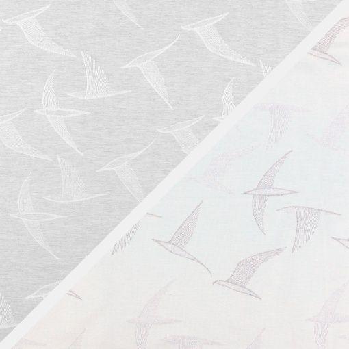 Jacquard, Grau/Weiß Melange mit Vögeln - STOFF & STIL