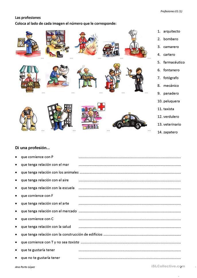 Profesiones | Spanish | Pinterest | Spanish worksheets, Spanish ...