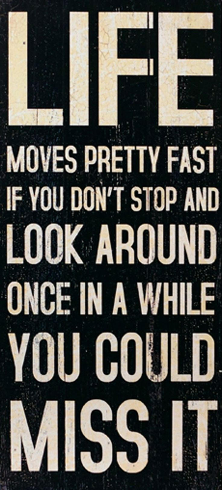 Life Moves Fast ....