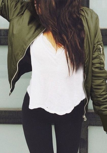Army green bomber jacket with white t-shirt and black jeans | Fashion