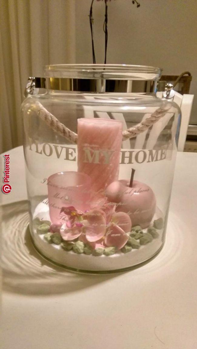 Windlicht mit rosa Deko und Kerzen   ideen für das zuhause im jahr 2019   Pinterest   …   – Dekoration