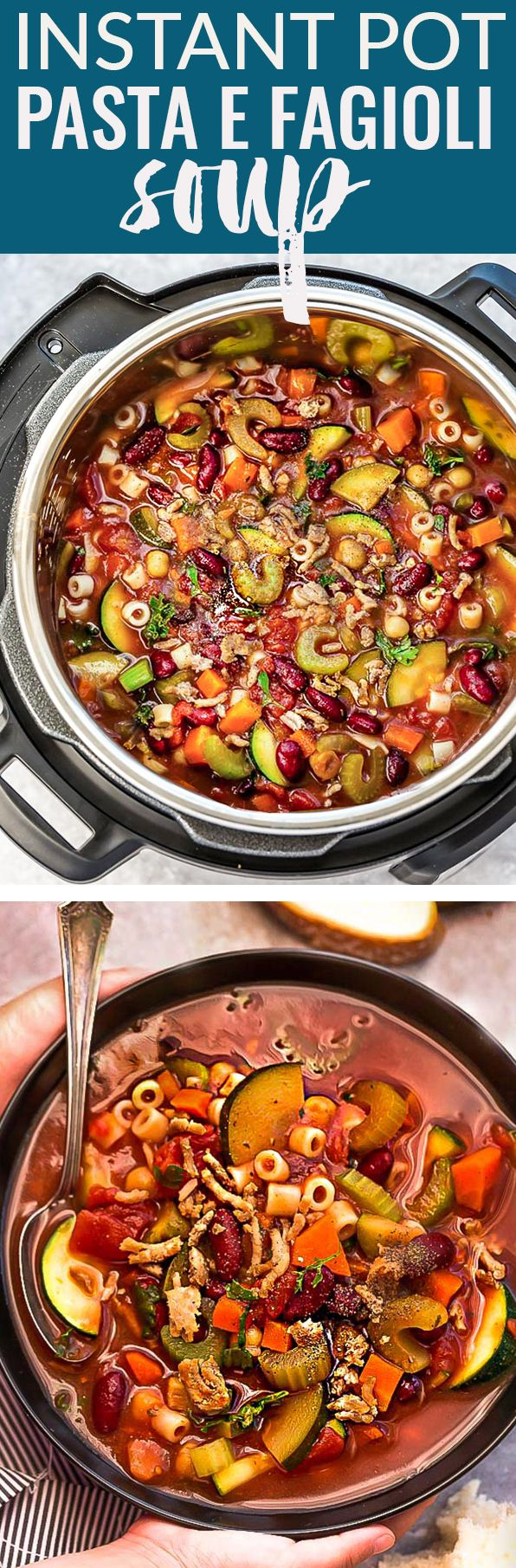 This Instant Pot Slow Cooker Pasta e Fagioli Soup is a lightened up and hearty stick-to-your-ribs recipe perfect for a chilly day. Best of all, this healthy copy-cat for Olive Garden's Pasta e Fagioli is just as delicious with options to make this gluten free. Comes together easily in your pressure cooker (plus stovetop diretions) and can be made ahead of time for meal prep! #soup #olivegarden #copycat #pasta #pastaefagioli #recipe #olivegardencopycat #glutenfree #healthy #instantpot