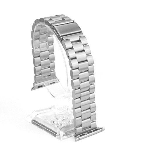 Lmeno 42mm Metall Edelstahl Uhrenarmband Apple Smartwatch Uhrband Armband Replacement Strap Wrist Band mit Metallschließe für Zubehör Apple Watch iWatch & Sport & Edition Alle Models - Solide Stahl - Silber - http://uhr.haus/lmeno/42mm-lmeno-38mm-metall-edelstahl-uhrenarmband-e-f