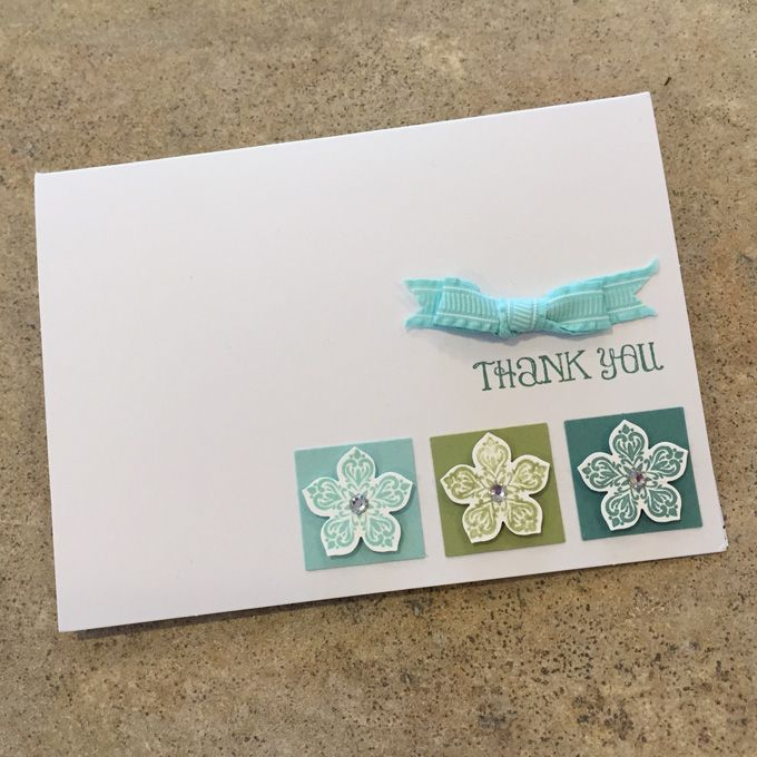 Clean and Simple Note Card with the Petite Petals Punch and stamp set | CAS