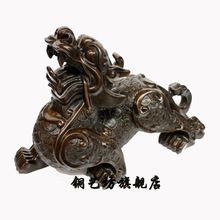 22′ China Bronze Unicorn Animal Foo Dog Lion Kylin Statue Figurine QQ EW