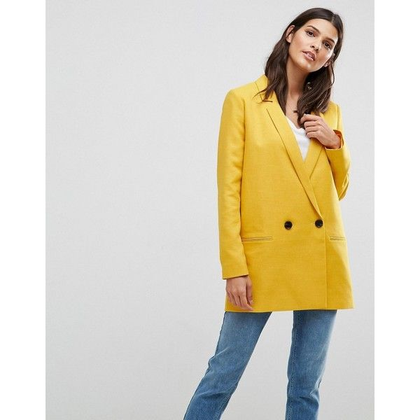 ASOS Tailored Double Breasted Mustard Blazer (4.575 RUB) ❤ liked on Polyvore featuring outerwear, jackets, blazers, yellow, yellow jacket, double-breasted blazers, tall blazer, longline blazer and one-button blazer