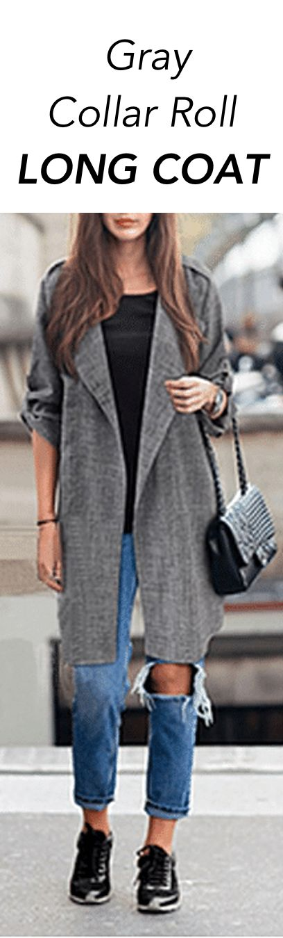 Gray Collar Roll Long Coat: This chic, linen coat features a notched lapel collar and long, open-front bodice framed by contrasting woven roll-up sleeves.