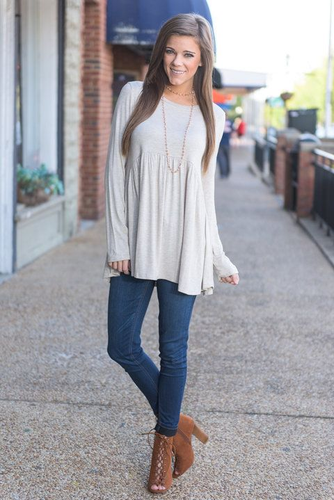 """""""Favorite Time Of Year Top, Oatmeal"""" This top is perfect for our favorite time of year! Fall! It's color is so perfect and the cut so flattering and comfy!  #newarrivals #shopthemint"""