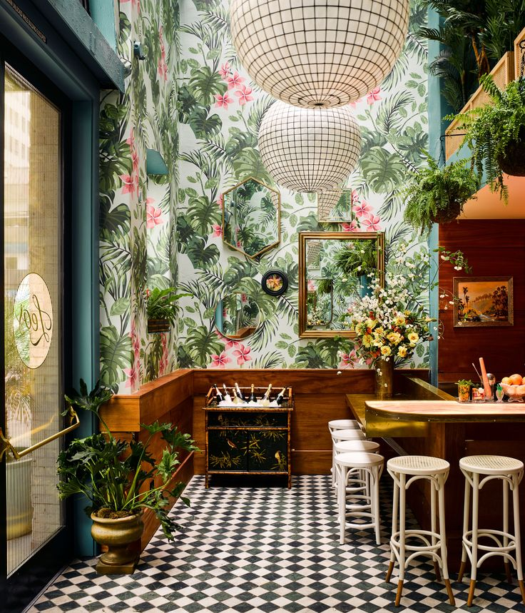 Ken Fulk designed Leo's Oyster Bar in a tropical decor in San Francisco's Financial District with just the right level of sultry playfulness and downtown polish.