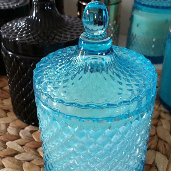 GEO Cut Glass handmade Soy Candle with lid by InspireMeCandlesAust