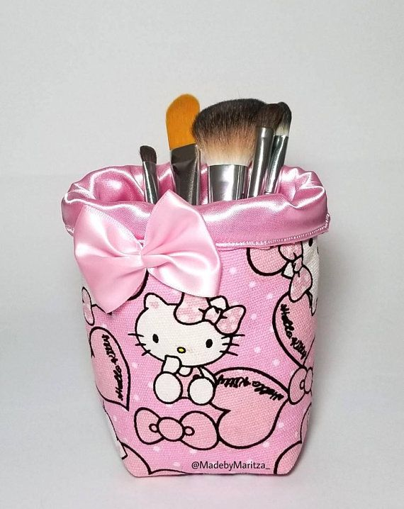 a3c3b7a2807 Foldable Hello kitty makeup brush holder fabric cup. Travel. Pink. Office  pen craft room organizer Vanity decor sunglasses. Gift idea