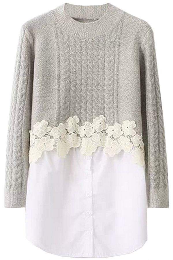 Mock 2PCs Long-Sleeve Sweater with Lace Trim. The sweater featuring mock two pieces-sweater with paneled blouse,lace trim,round neck,long sleeves,ribbed neck and cuff. Pair it with a leggings and a boots.
