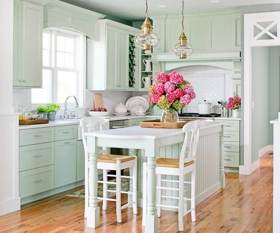 Love the mint green kitchen & LOVE the lights ....: As Kitchens, Cottages Kitchens, Mint Green, Dreams Kitchens, Kitchens Design, Kitchens Ideas, Kitchens Islands, Green Kitchens, White Kitchens