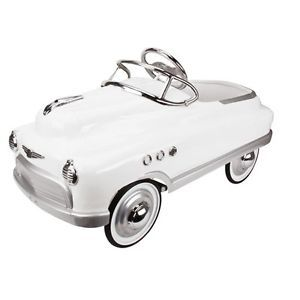 new murray cometbuick torpedo style pedal car white kids toy car metal vintage
