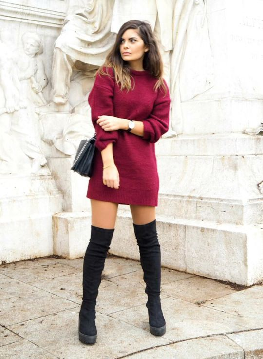 Platform boots are the hottest new trend. The chunky soles on these boots will add a dimension of edginess to any look. Laetitia wears a pair with a cute and festive crimson sweater dress. Boots/Dress: ASOS, Jewels: Meriko London, Watch: Daniel Wellington, Bag: Zara.