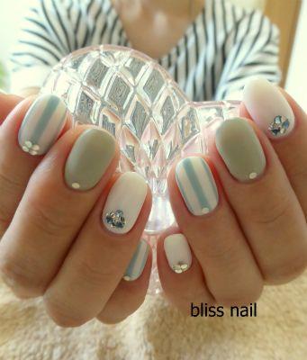 カジュアル可愛いストライプネイル |京都・今出川のプライベートネイルサロン bliss nail(ブリスネイル)