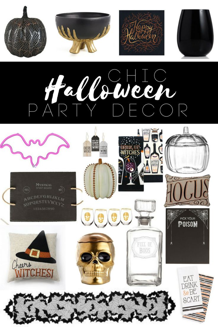 A roundup of Chic Halloween Party Decor for classy halloween decorating or upscale halloween decorating. Perfect for a black and gold halloween party or modern halloween party. With classic Halloween decorating pieces and non traditional halloween decor perfect for any halloween party. Halloween drink dispenser, halloween candy bowl, halloween cookie jar, halloween drink station decorating, halloween wine glasses, halloween pumpkins, and halloween cheese board. // www.elletalk.com #halloween #ha