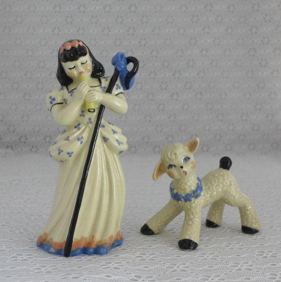 Little Bo Peep Figurines 1940s 1950s USA by RaindropVintageShop