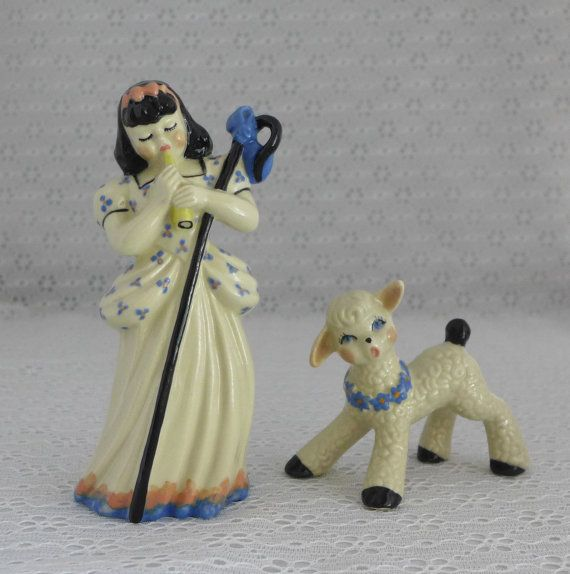 Little Bo Peep Figurines 1940s 1950s USA by RaindropVintageShop