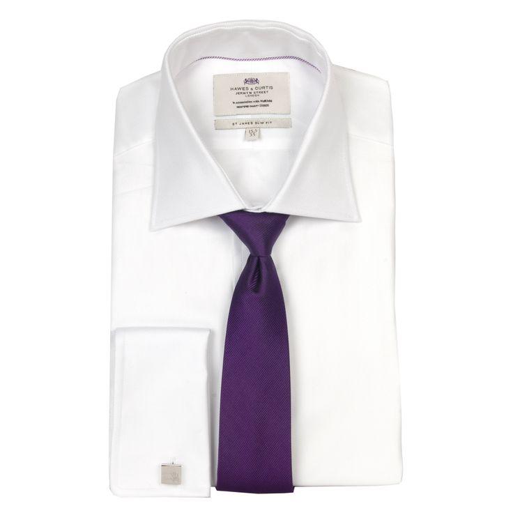 Crisp White Shirt Purple Tie And Signature Cufflinks