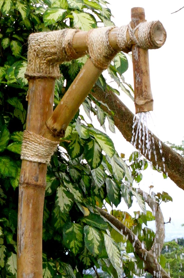 My outdoor bamboo shower.